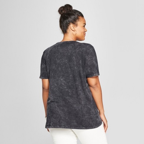 7b85da859 Women's Plus Size Short Sleeve Babe Acid Wash Boyfriend Graphic T-Shirt -  Mighty Fine (Juniors') Black : Target
