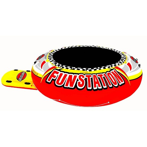 Sportsstuff 58-1015 Funstation 10' PVC Inflatable Water Trampoline Kids Jump Bouncer for Lake with Carrying Bag for Children Ages 6 and Up - image 1 of 4