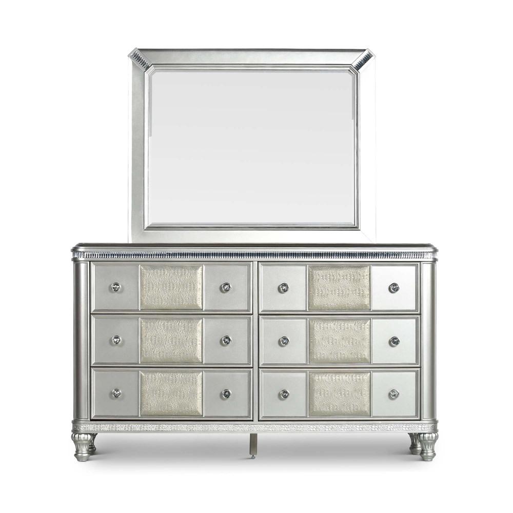 Midtown 6 Drawers Dresser/Mirror Platinum (White) - Steve Silver