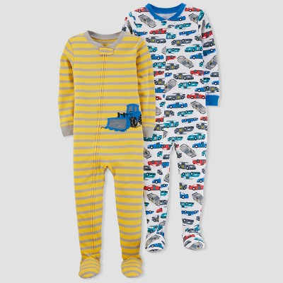 Baby Boys' 2pk Construction/Cars Pajama Set - Just One You™ Made by Carter's® Yellow 12M