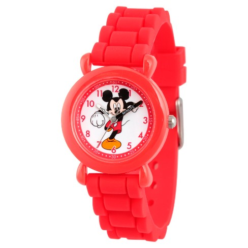 Boys' Disney Mickey Mouse Red Plastic Time Teacher Watch - Red - image 1 of 2