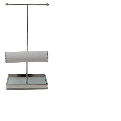 Jewelry Tree & Bracelet Bar Stand with Mirror Base Polished Nickel - 88 Main®