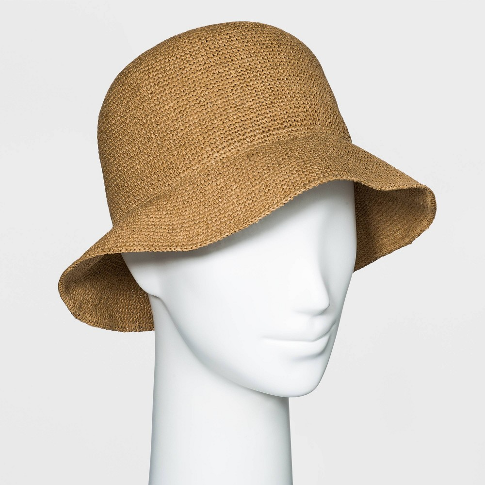 1920s Style Hats Womens Packable Straw Cloche Hat - Universal Thread Brown $17.00 AT vintagedancer.com