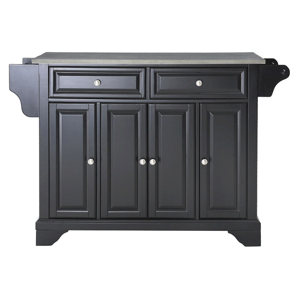 LaFayette Stainless Steel Top Kitchen Island - Black - Crosley
