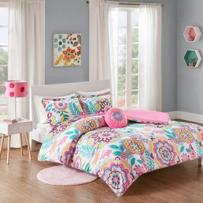 Pink Cora Floral Comforter Set