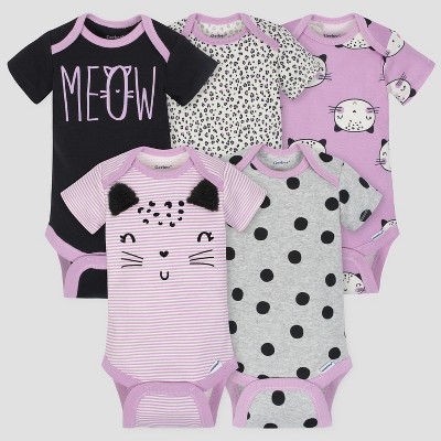 Gerber Baby Girls' 5pk Short Sleeve Onesies Bodysuit Cat - Purple/Gray 3/6M