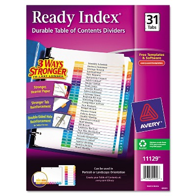 Avery Ready Index Customizable Table of Contents Multicolor Dividers 31-Tab Letter 11129