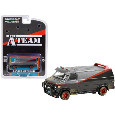 "1983 GMC Vandura Van (B.A.'s) Black & Silver (Dirty Ver.) ""The A-Team"" (1983-1987) TV Series 1/64 Diecast Model by Greenlight"