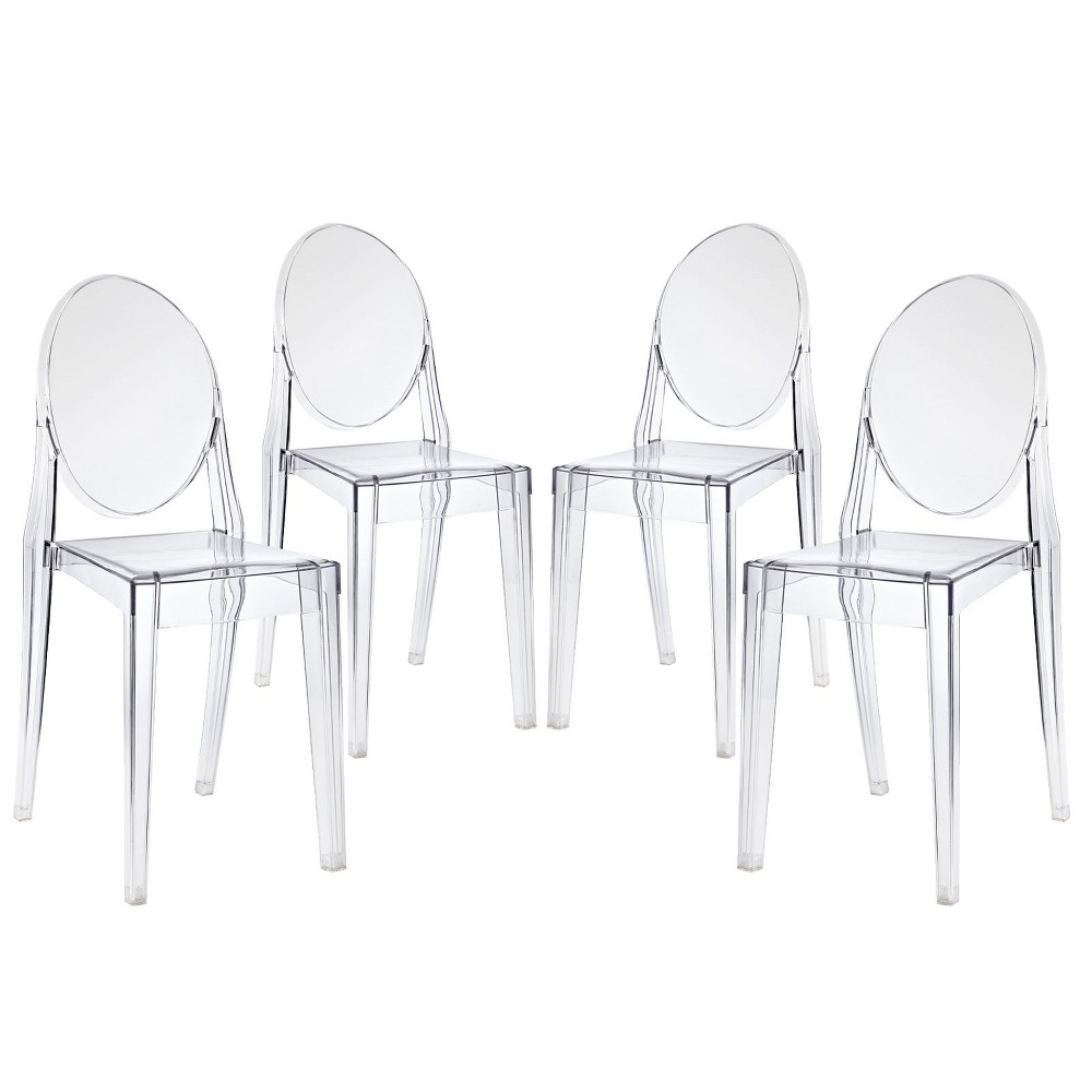 Casper Dining Chairs Set of 4 Clear - Modway