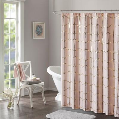 Arielle Printed Metallic Shower Curtain