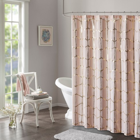 Arielle Printed Metallic Shower Curtain Blush - image 1 of 2