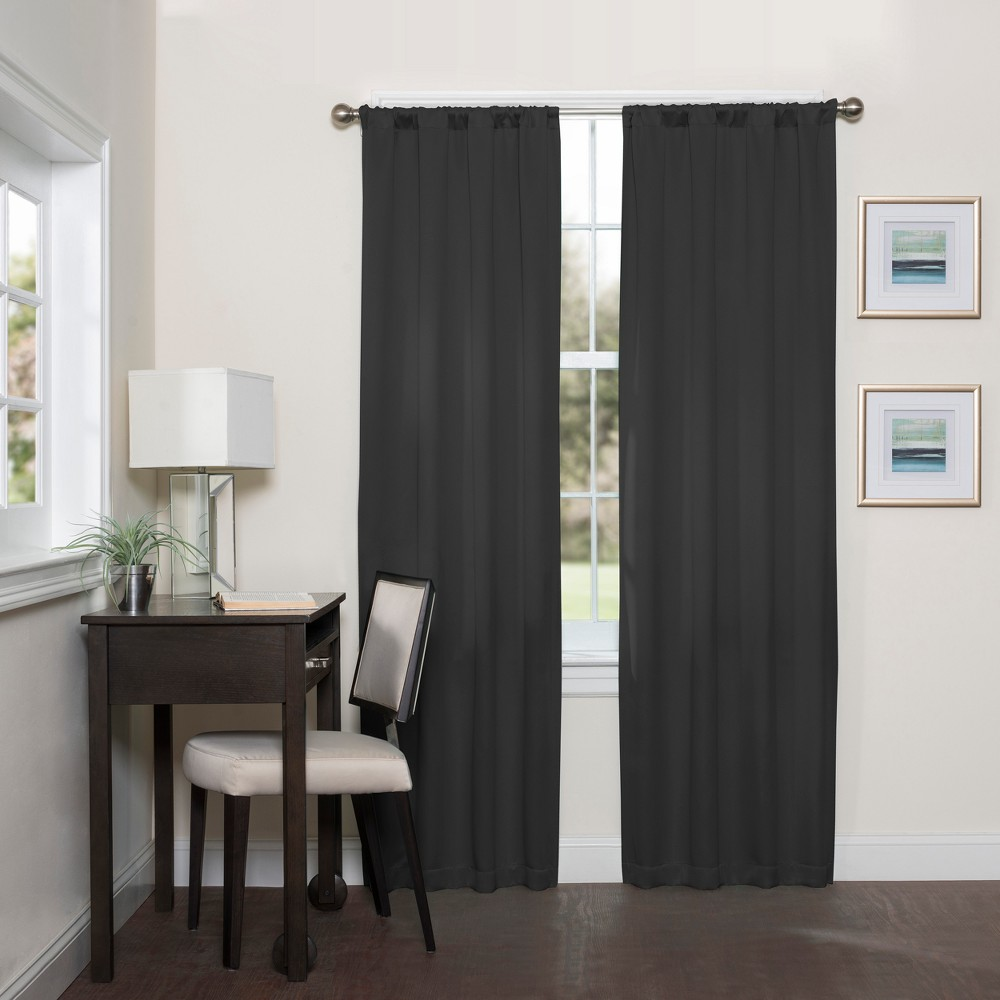 Darrell Thermaweave Blackout Curtain Black/Solid 37X63 - Eclipse