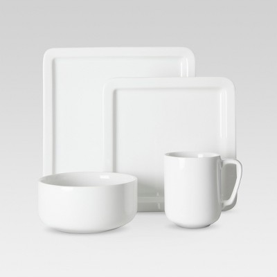 Casual Modern 16pc Dinnerware Set White - Threshold™
