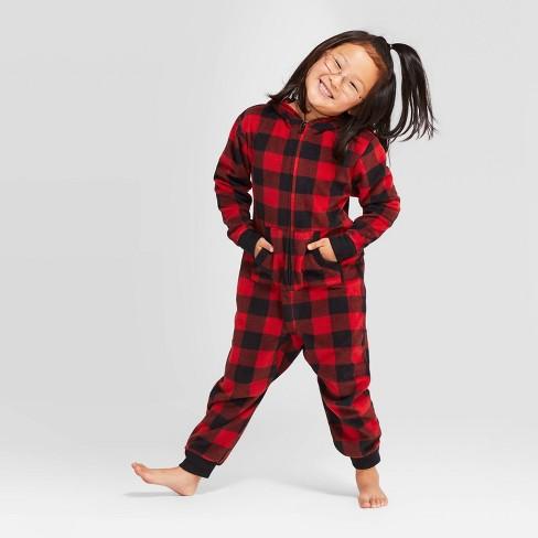 Kids' Holiday Buffalo Check Fleece Union Suit  - Wondershop™ Red - image 1 of 4