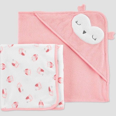 Baby Girls' 2pk Owl Bath Towel - Just One You® made by carter's Pink