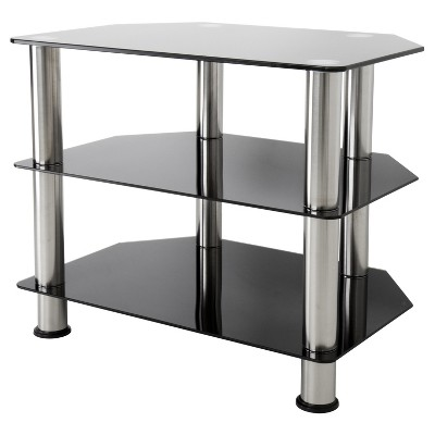 "32"" TV Stand with Glass Shelves - Silver/Black"