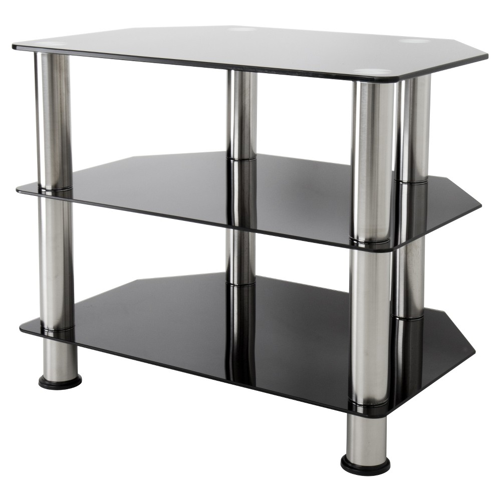 "Image of ""32"""" TV Stand with Glass Shelves - Silver/Black"""