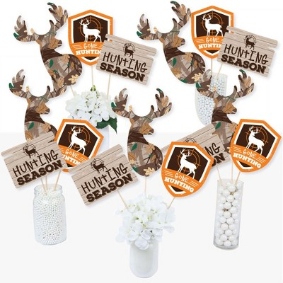 Big Dot of Happiness Gone Hunting - Deer Hunting Camo Baby Shower or Birthday Party Centerpiece Sticks - Table Toppers - Set of 15