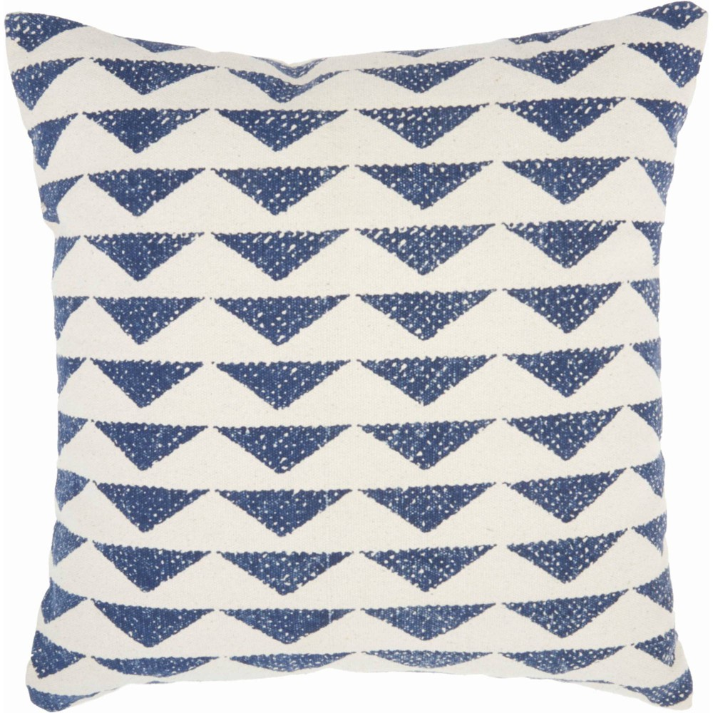 Image of Life Styles Printed Triangles Oversize Square Throw Pillow Navy - Nourison