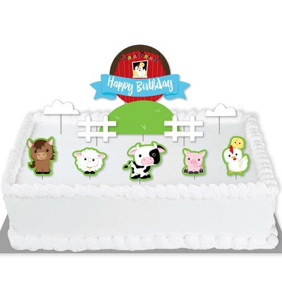 Big Dot of Happiness Farm Animals - Barnyard Birthday Party Cake Decorating Kit - Happy Birthday Cake Topper Set - 11 Pieces