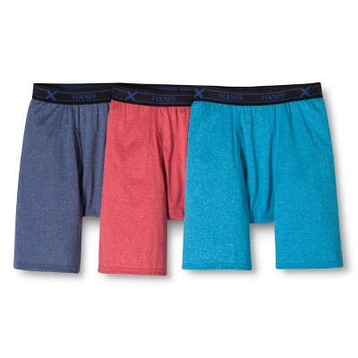 Hanes Premium Men's 3pk Xtemp Long Leg Boxer Briefs - Red/Blue/Aqua