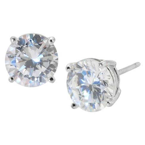Women S Sterling Silver Round Cubic Zirconia Stud Earring 8mm