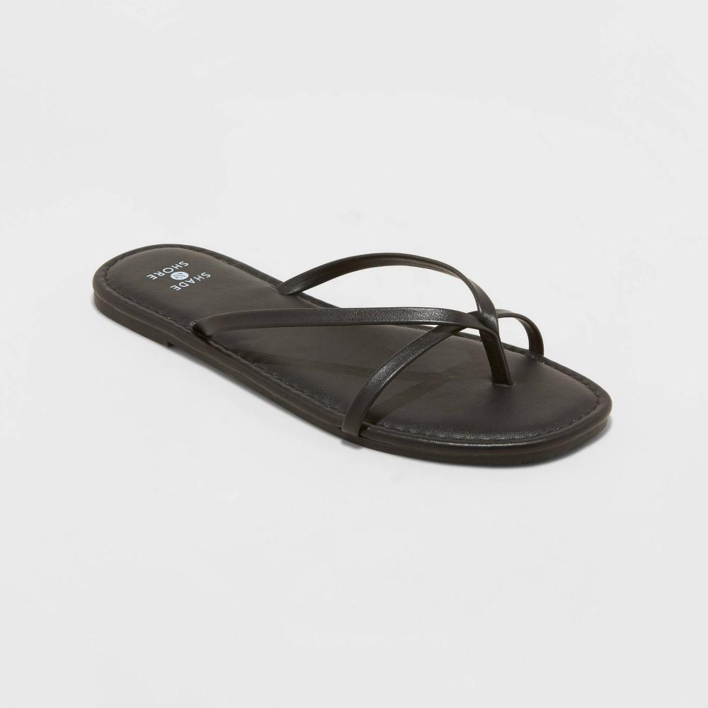 Women 39 S Mackenzie Skinny Strap Flip Flop Sandals Shade 38 Shore 8482 Black 12