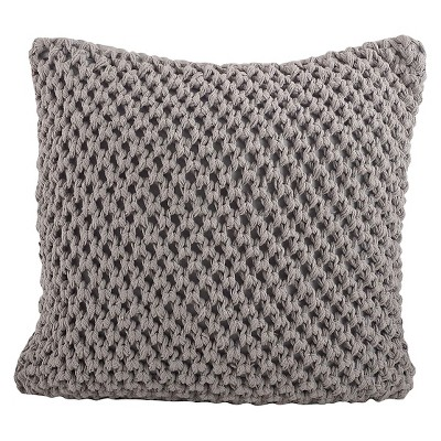 Gray Knitted Design Throw Pillow (20 x20 )Saro Lifestyle