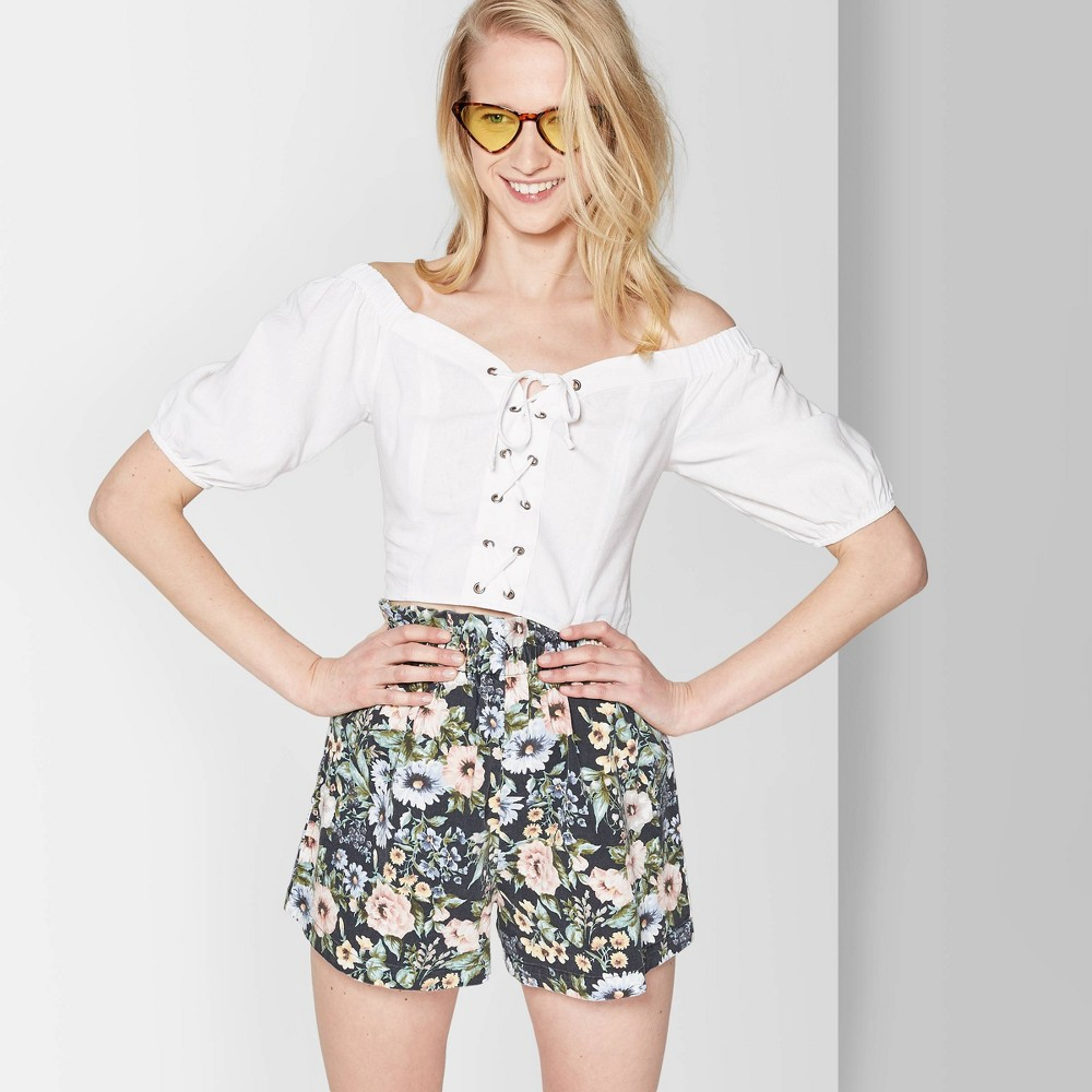 Women's Short Puff Sleeve Lace-Up Cropped Top - Wild Fable White S
