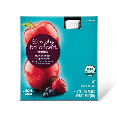Organic Apple Berry Fruit Pouches 4ct - 3.2oz - Simply Balanced™ - image 1 of 1