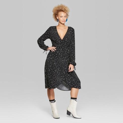 958d2ddef6f Women s Star Print Long Sleeve Wrap Midi Dress - Wild Fable™ Black ...