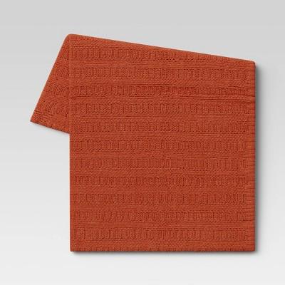 Striped Chenille Knit Throw Blanket Orange - Threshold™