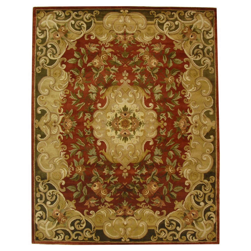 Rust/Green Abstract Tufted Area Rug - (9'6
