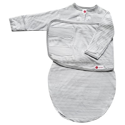 embé Starter Long Sleeve Swaddle with Fold Over Mitts - Gray Stripe