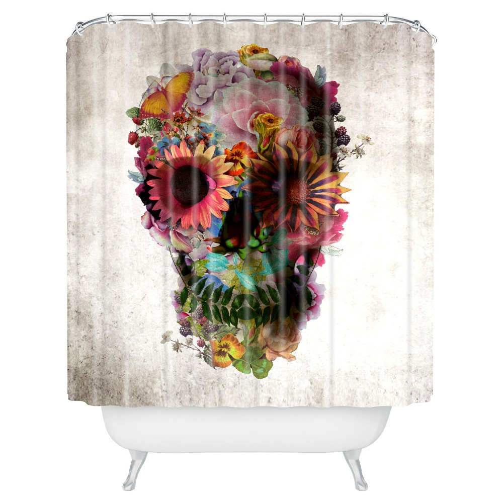 Image of Ali Gulec Gardening Floral Skull Shower Curtain Yellow - Deny Designs