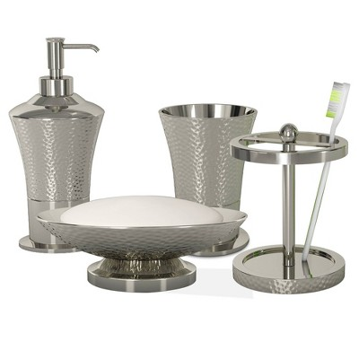 4pc Classic Hammered Metal Bath Accessory Set for Vanity Counter Tops Silver - Nu Steel
