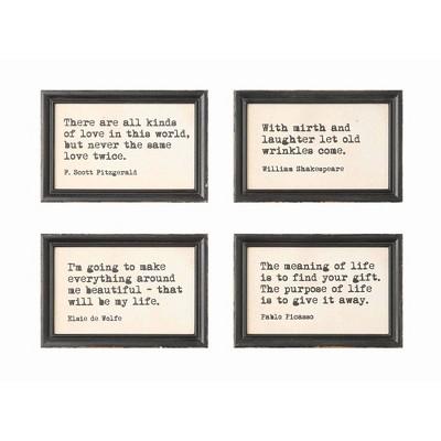 Set of 4 Quotes Wood Framed Decorative Wall Art - 3R Studios