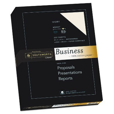 Southworth 100% Cotton Business Paper Ivory 32 lbs. 8-1/2 x 11 250/Box JD18IC