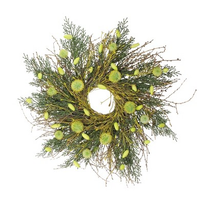 Northlight Burrs and Catkins Twig Artificial Floral Spring Wreath, Yellow and Green 20""