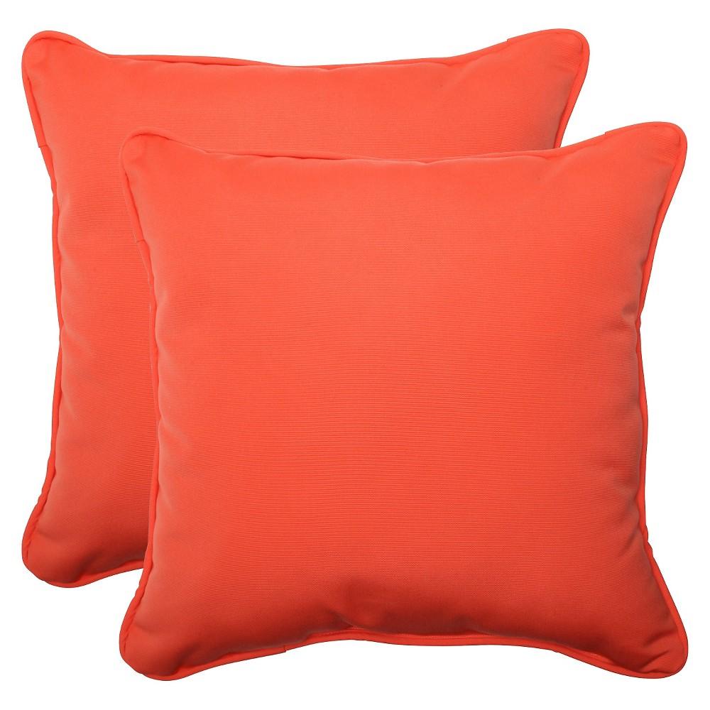 Image of Sunbrella Canvas Outdoor 2-Piece Square Throw Pillow Set - Orange, Melon Ball