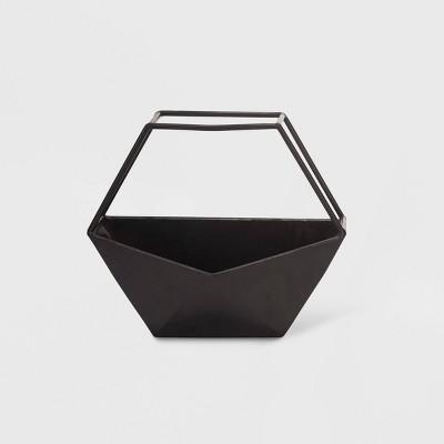10  Geo Hexagon Metal Wall Planter Black - Foreside Home & Garden