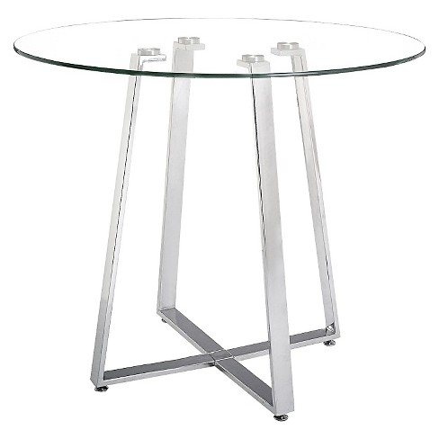 "Modern 40"" Round Tempered Glass and Chromed Steel Counter Height Table - ZM Home - image 1 of 1"