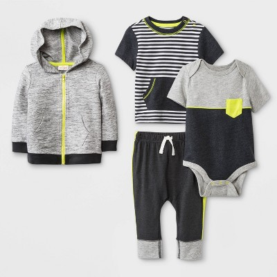 Baby Boys' Hoodie, Bodysuit, T-Shirt and Leggings Set - Cat & Jack™ Charcoal/Black 0-3M