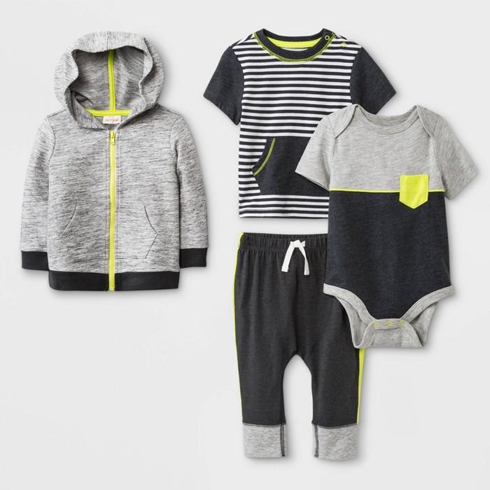 Baby Boys' Hoodie, Bodysuit, T-Shirt and Leggings Set - Cat & Jack™ Charcoal/Black - image 1 of 1