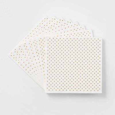 20ct Dinner Disposable Napkin Gold Dots - Wondershop™