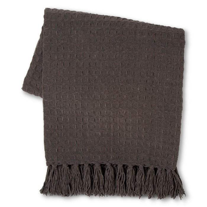 Basketweave Chenille Throw Blanket Gray - Threshold™ - image 1 of 1