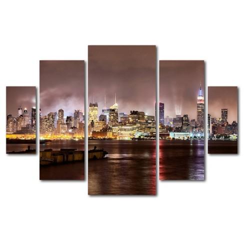 5pc Midtown Manhatten Over Hudson River by David Ayash - Trademark Fine Art - image 1 of 4