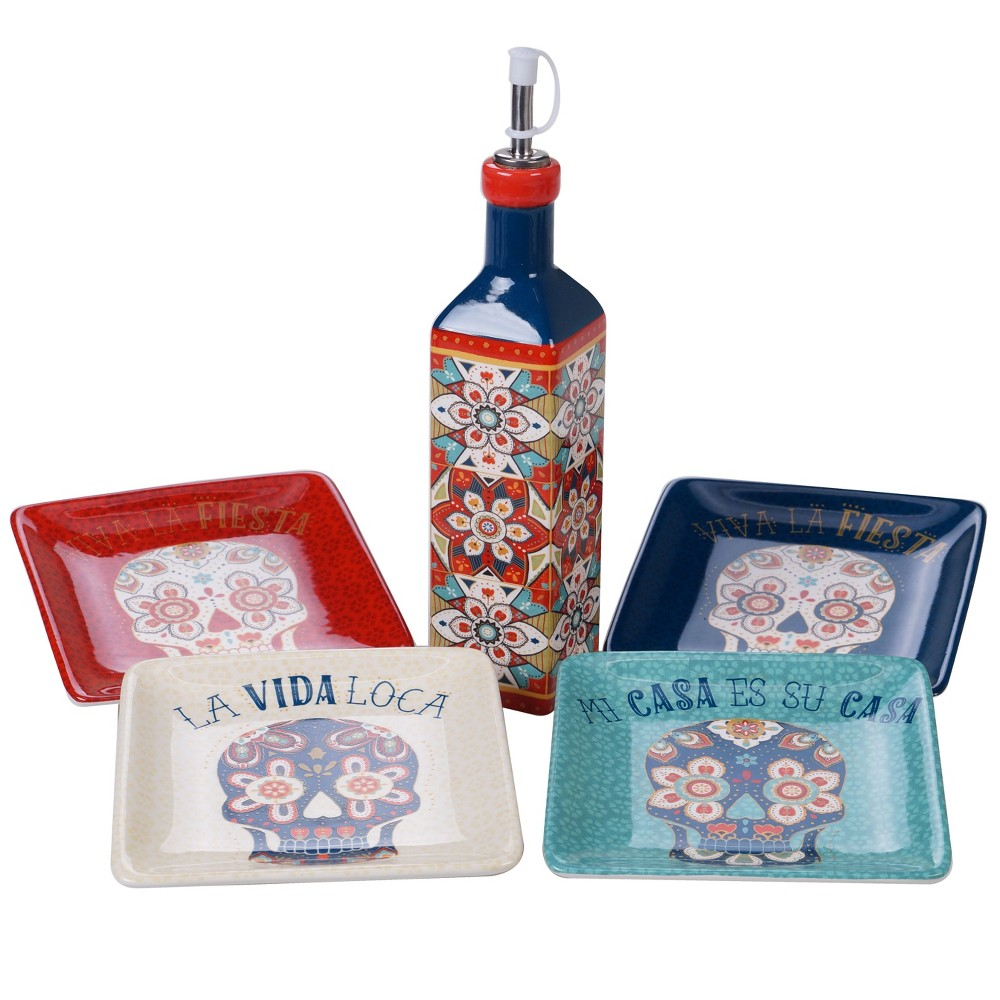 Image of 5pc Earthenware La Vida Olive Oil Set Blue - Certified International, White Red Blue