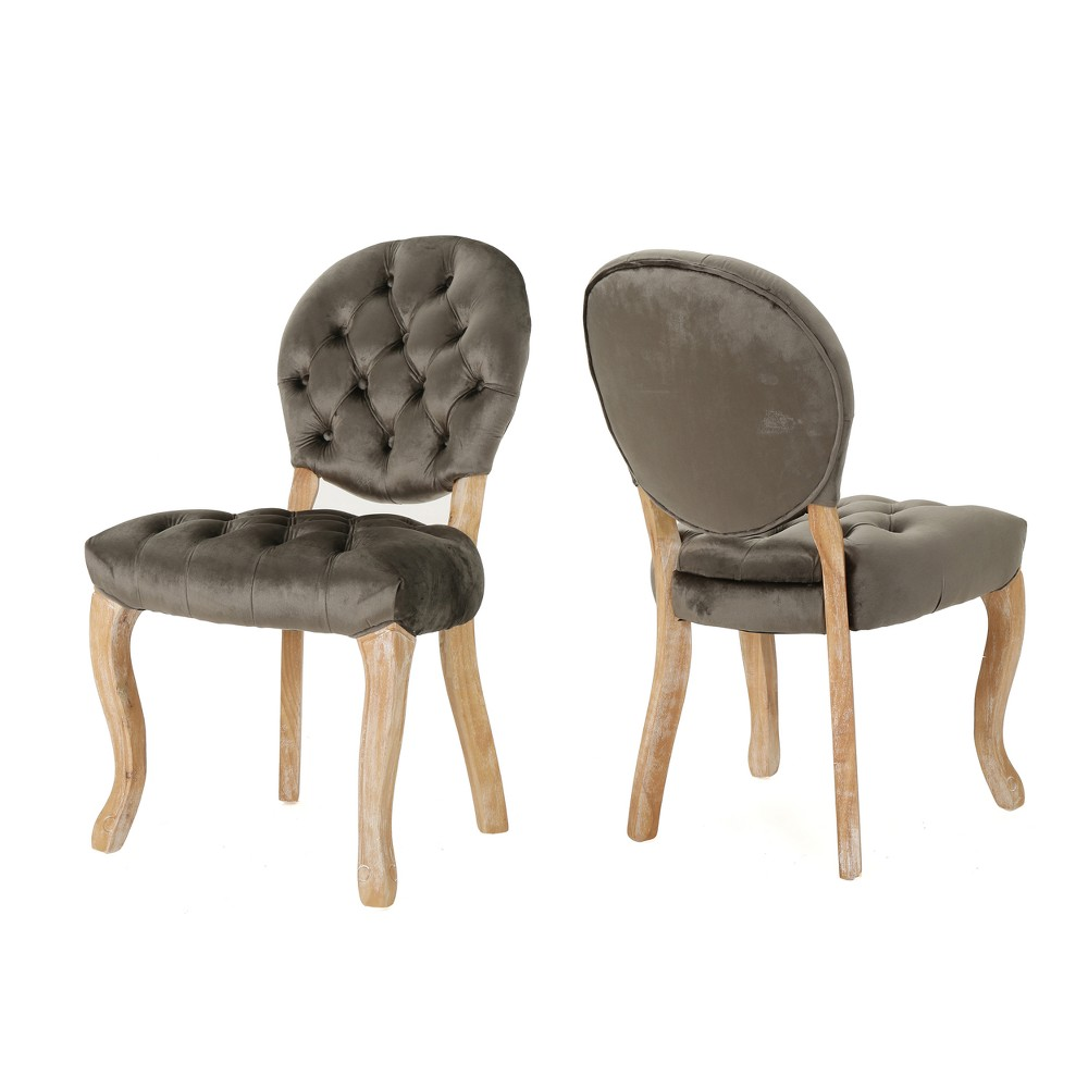Set of 2 Xenia Tufted Dining Chairs Gray - Christopher Knight Home