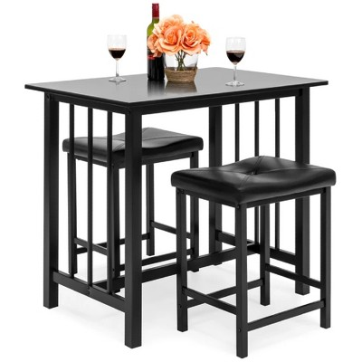 Best Choice Products 3-Piece Counter Height Dining Table Set w/ 2 Faux Leather Stools, Space-Saving Design - Black